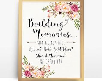 Jenga Guest Book Sign, Wedding Jenga, Jenga Sign, Jenga Guest Book, Jenga Wedding, guest book alternative, Building memories Sign,  - PF-18
