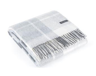 soft cashmere throw blanket plaid greywhite - Cashmere Blanket