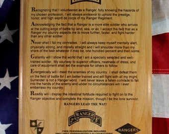 75th Ranger Regiment Creed Plaque, Two lines of personalized text, 1st, 2nd, 3rd Battalion, RLTW gift engraved, US Army Ranger School