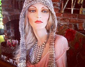 Little prairie pixie, hand knit wool hoodie, hand spun yarn, pixie hat, warm winter hat, beautiful art yarn pixie hoodie hat, winter hat,