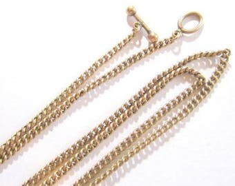"Antique Signed ""Hfb"" Gold Filled Chain Necklace*Toggle Clasp*19.5X2Mm*3.9G*A334"