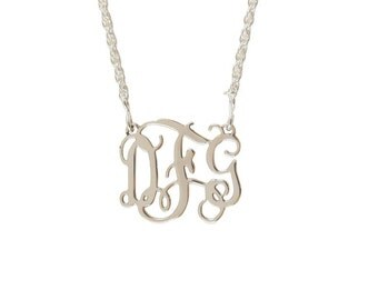 Small Sterling Silver Monogram Filigree Necklace - Interlocking Collection