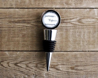 Wizard spell book page wine bottle stopper. Great Housewarming gift. Book club gift.