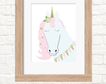 A4 unicorn print girls wall art decor