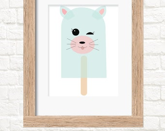 A4 cat popsicle print childrens wall art
