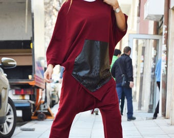 Women's Burgundy Set, Loose Sport Pants, Asymmetric Maxi Sweatshirt, Extravarant Combo Set, Drop Crotch by SSDfashion
