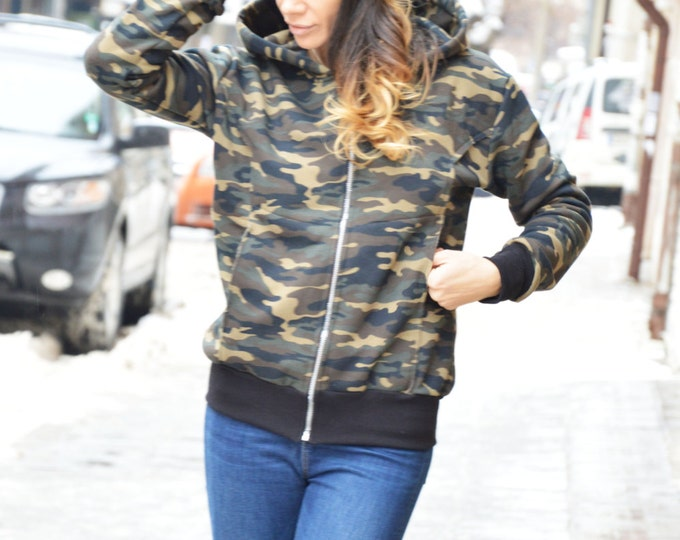 Extravagant Warm Military Hooded Sweatshirt, Quilted Cotton Zipper Jacket, Winter Hooded Side Pockets By SSDfashion