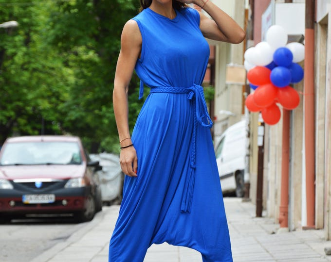 Casual Blue Viscose Jumpsuit, Sleeveles Jumpsuit With Extravagant Belt, Women's Drop Crotch Pants by SSDfashion