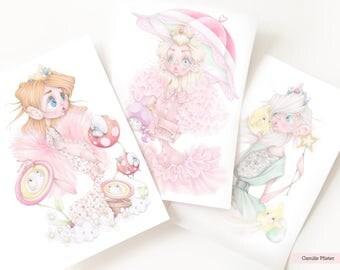 Chanel princesses Peach Daisy Rosalina 3 art prints pop surrealism mario bros nintendo fashion illustration