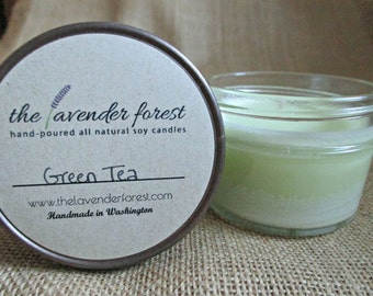 green tea // hand-poured 4oz jelly jar soy candle // natural soy wax // highly scented // rustic