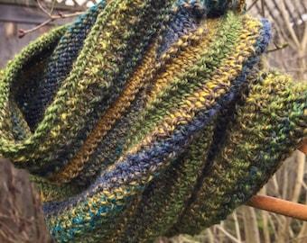 Cowl Handknit Merino Green Blue Gold