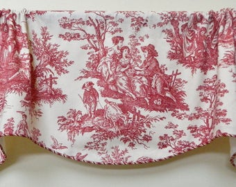 Waverly Country Life Country Weekend Garnet and Ivory Toile -Window Valance / Lined and Corded Rod Pocket Scalloped Valance / French Country