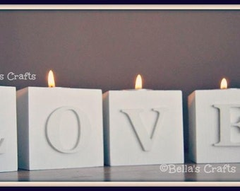 LOVE Wooden blocks with candle.  Set of 4 handmade wooden blocks , Valentines gift decoration