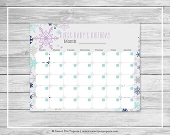 Winter Baby Shower Guess Baby's Birthday - Printable Baby Shower Guess Baby's Birthday - Baby It's Cold Outside Baby Shower - SP143