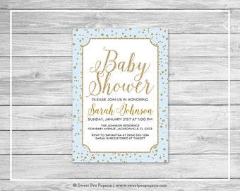 Blue and Gold Baby Shower Invitation - Printable Baby Shower Invitation - Blue and Gold Confetti Baby Shower- Baby Shower Invitation - SP146