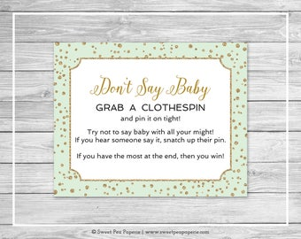 Mint and Gold Baby Shower Don't Say Baby Game - Printable Baby Shower Don't Say Baby Game - Mint and Gold Confetti Baby Shower - SP147