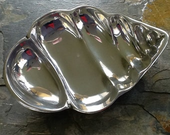 Cast Aluminum Dish~Interesting Shape~Ocean Shell Shape~Semi Divided~Vintage Aluminum~Shiny & Birght~Over 7 In Long~Over 4 In Wide~Nut Dish~