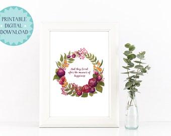 Digital - Plum Olive Floral Wreath - Quote