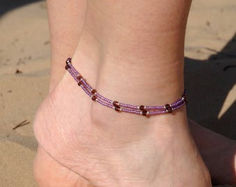 Bohemian Ankle bracelet Boho Anklet Double Anklet Crystal anklet Beach anklet Gypsy anklet dainty anklet Women anklets womens gift wife gift