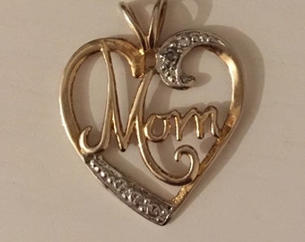 Sterling Silver and Gold Plate 'Mom' Heart Pendant