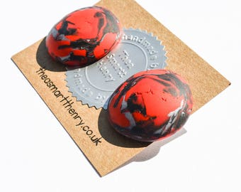 Red, Black, Stud Earrings, Round studs, Dome studs, Gifts for Her, Gifts for Mum, Birthday Gift, Fimo, Premo