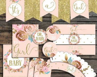 BABY SHOWER Decorations Blush Pink and Gold Baby Shower Package Floral printable baby shower set baby girl decorations  its a gilr decor