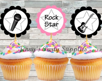 Set of 12 Rock Star Cupcake Toppers, Rockstar Birthday Party, Guitar Cupcake Toppers, Rock Star Party Toppers