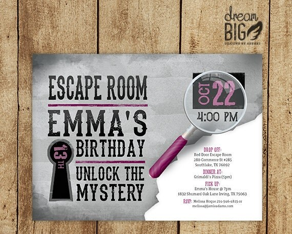 Escape room invite plus thank you card by dreambigdesignsllc for Escape room party