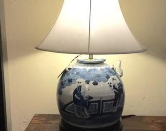 Antique Blue and White Ginger Jar Lamp, Strange Imports