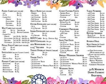 Custom Wedding Invitations or Announcements- Wedding, thank you, program, save the date, etc.
