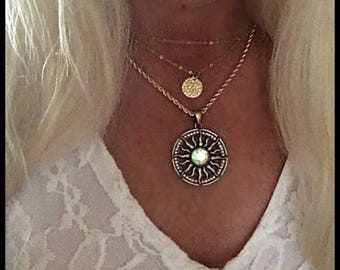 Layered gold disk, sun,boho, gold chain necklaces