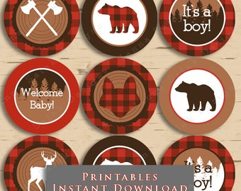 Lumberjack Baby Shower Cupcake Toppers Buffalo Plaid Party DIY Printable INSTANT DOWNLOAD LJ01