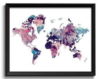 World Map Print Pink Blue Purple Navy Watercolor World Map Poster Print Globe Modern Abstract Landscape Art Painting