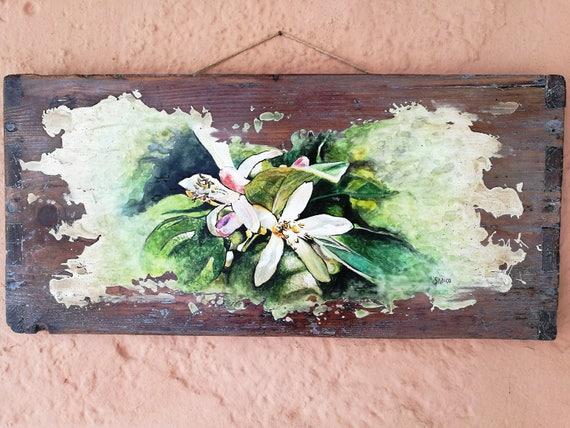 Watercolor painting, watercolors flowers, painting on wood, hand painted, custom art, wood Board recovery, vintage-Lemon blossom