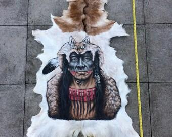 Amazingly Beautiful Hand Painted Native American Goat Pelt Animal Hide Skin Taxidermy