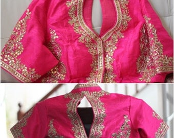 Hand embroidered Gota patti Raw Silk Blouse~FREE SHIPPING