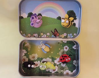 Altoids tin, pocket toy, Pocket Bugs, take along toy with magnetic bugs