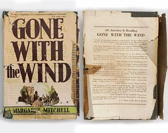 Gone With The Wind, Margaret Mitchell 1938 Edition, Hardcover with Dust Jacket, Classic Americana, Vintage Book