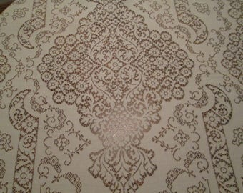 """Lace Tablecloth, Ivory Lace 68"""" x 80"""" Rectangle Elaborate Floral Motif, Large Center Pattern"""