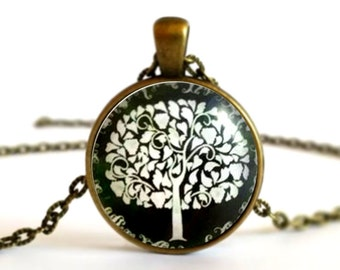 Black and White Tree of Life Large Tree Necklace Pendant or Brooch