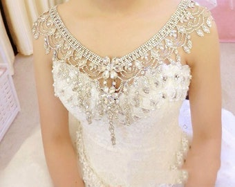 Elegance Bridal Shoulder Necklace, Vintage Style Crystal Body Strap Wedding Jewelry, Boho Necklace, Prom Party Jewellry Bridal Accessories