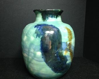 Beth Heit Hamsa Pottery Jug/HANDMADE Signed Pottry/Green Blue Hand Thrown Pottry Jug/Art Pottery Jug
