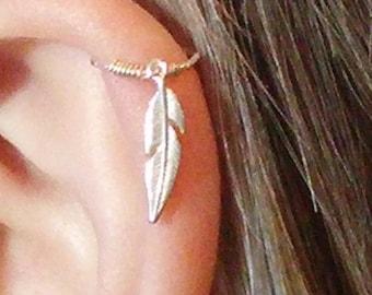 Helix earring, Cartilage earring, Helix piercing, Cartilage hoop, Helix hoop, Cartilage piercing, Forward helix earring, leaf feather hoop