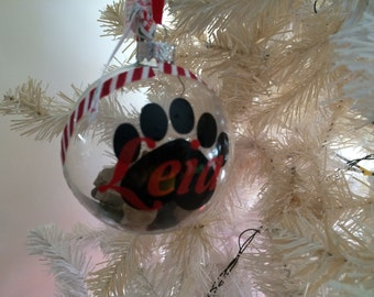 Personalised GLASS Christmas Pet Bauble. Dog Cat Christmas. Personalised pet baubles for dog or cat. By My Tulip, Handmade Scrapbooking.
