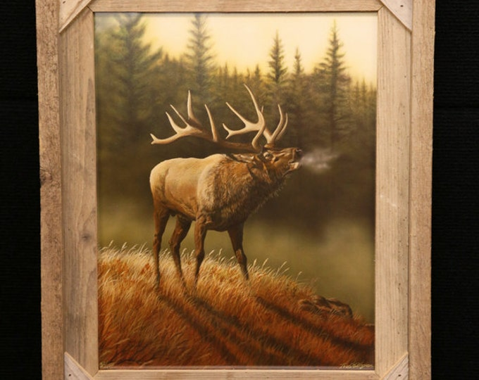 Elk painting Father's Day gift for men Elk print hunting Art Honor the Call painting Hunting Painting lodge Art gift for dad Wildlife art