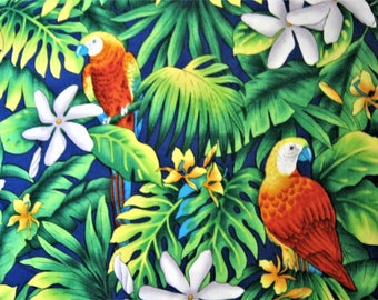 Tropical Fabric*Parrots*Trans-Pacific Textiles*TX-20132*Cotton Fabric*Jungle Fabric*Green Tropical Leaves*White Flowers*Quilting*Sewing