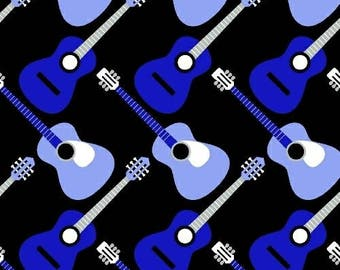 Windham Three Quarter Time Guitars Fabric - Black - Sold by the 1/2 Yard