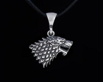 House Stark Pendant, Direwolf Pendant, Game of Thrones, sterling silver, handmade
