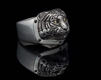 Tiger Ring, sterling silver, handmade