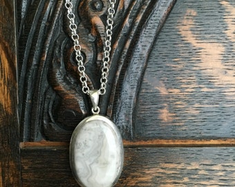 Sterling Silver Lace Agate Pendant Necklace
